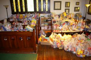 "Sorted Food From ""Fill the Ford,"" Trinity's Collection to Support the Local Food Pantry"